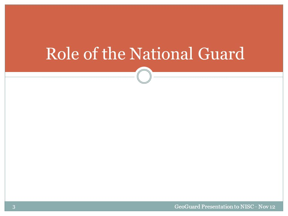 Overview GeoGuard Presentation to NISC - Nov 12 24 New National Guard Authority – Responsibility.