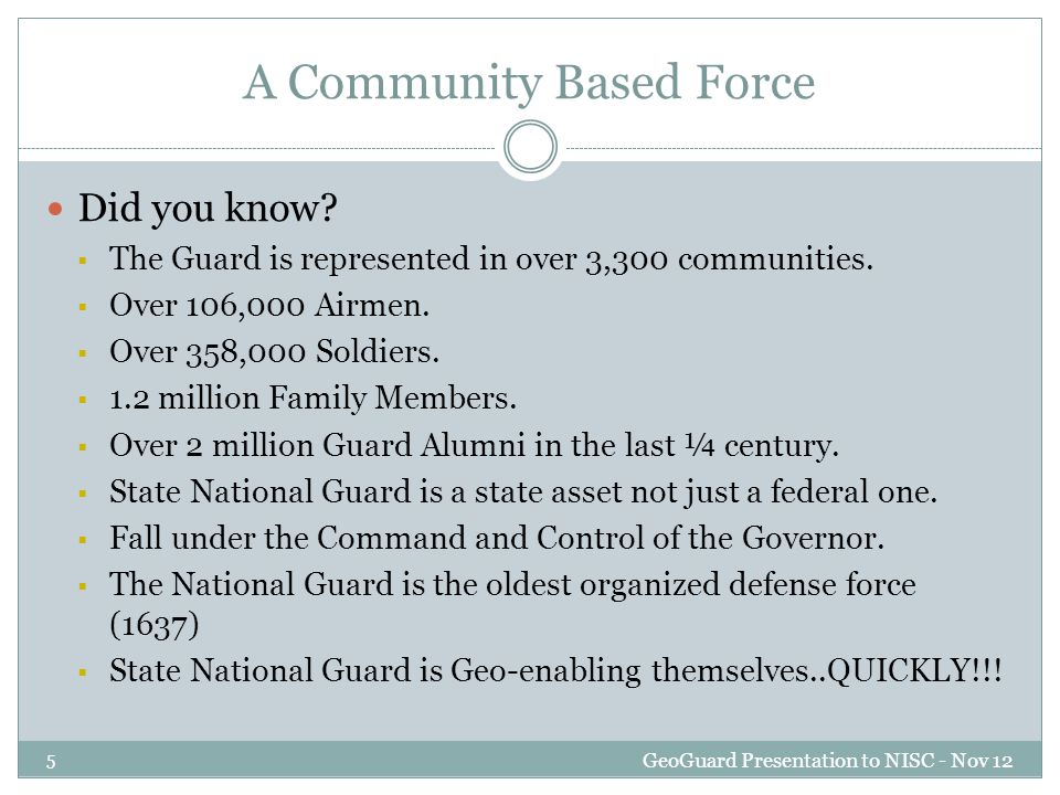 A Community Based Force Did you know.  The Guard is represented in over 3,300 communities.
