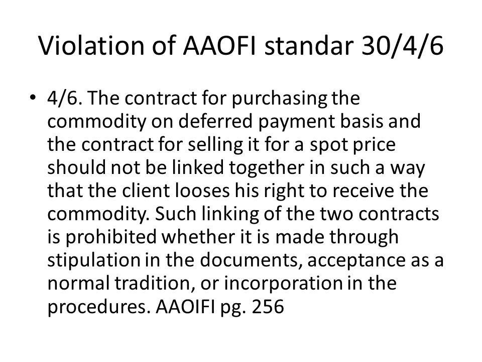 Violation of AAOFI standar 30/4/6 4/6.