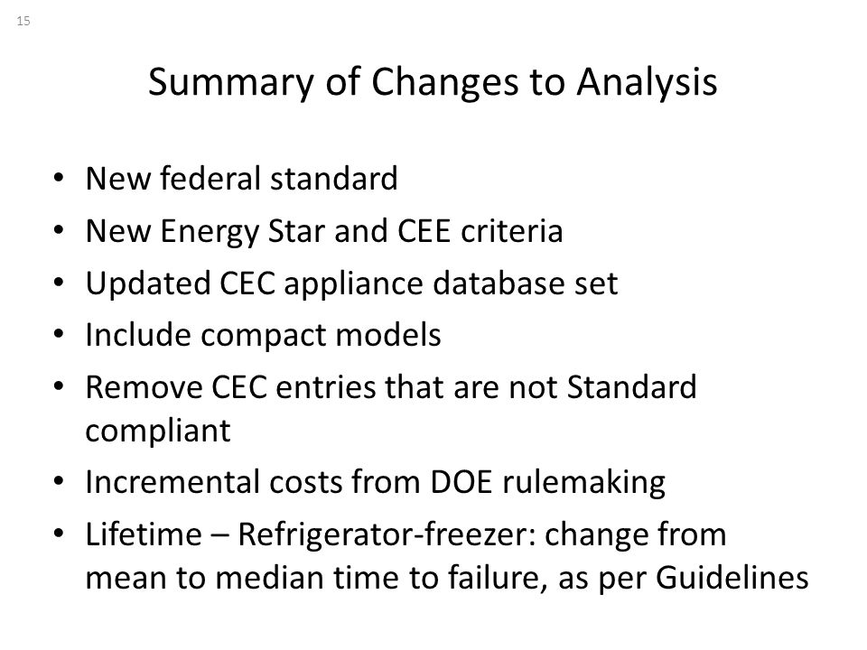 Summary of Changes to Analysis New federal standard New Energy Star and CEE criteria Updated CEC appliance database set Include compact models Remove