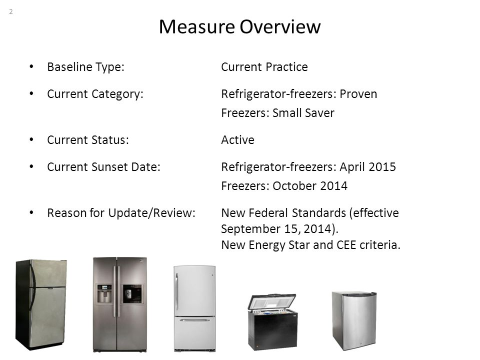 Measure Overview Baseline Type: Current Practice Current Category: Refrigerator-freezers: Proven Freezers: Small Saver Current Status: Active Current Sunset Date: Refrigerator-freezers: April 2015 Freezers: October 2014 Reason for Update/Review: New Federal Standards (effective September 15, 2014).