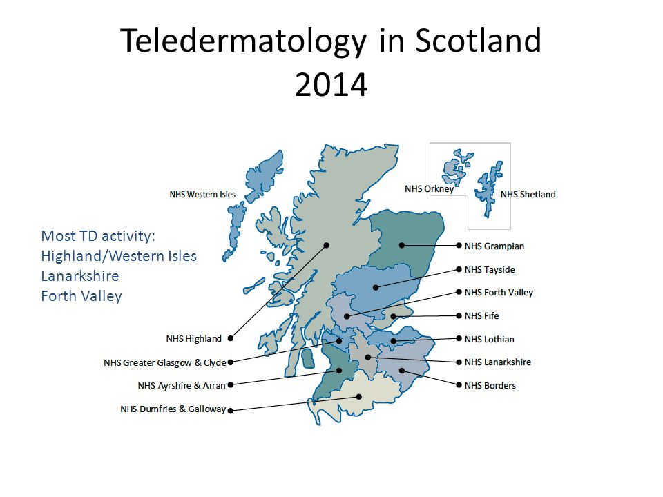 Teledermatology in Scotland 2014 Most TD activity: Highland/Western Isles Lanarkshire Forth Valley