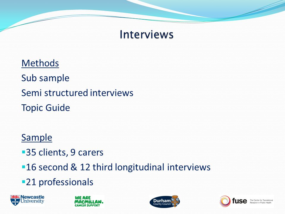 Methods Sub sample Semi structured interviews Topic Guide Sample  35 clients, 9 carers  16 second & 12 third longitudinal interviews  21 profession