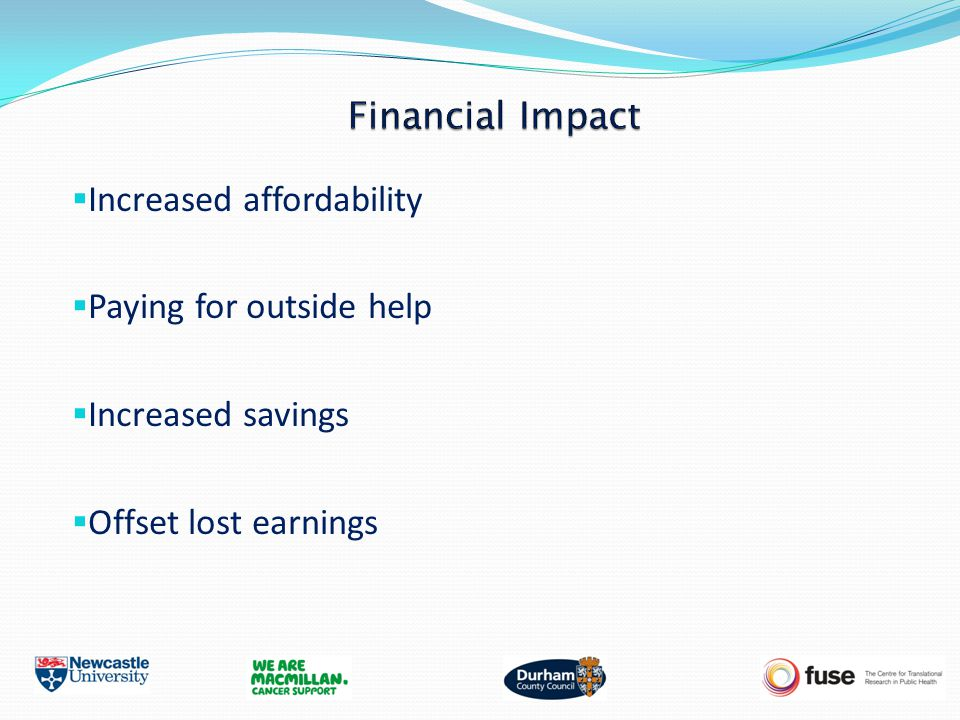  Increased affordability  Paying for outside help  Increased savings  Offset lost earnings