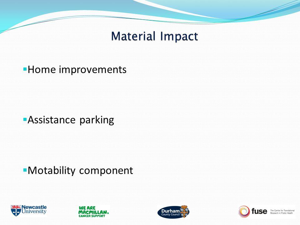  Home improvements  Assistance parking  Motability component