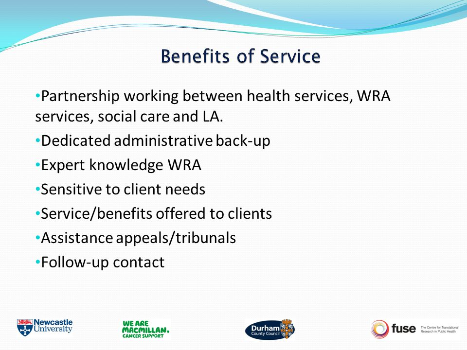 Partnership working between health services, WRA services, social care and LA.