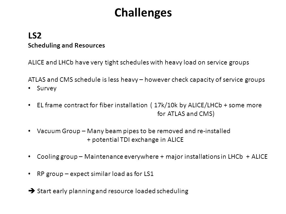 Challenges LS2 Scheduling and Resources ALICE and LHCb have very tight schedules with heavy load on service groups ATLAS and CMS schedule is less heav