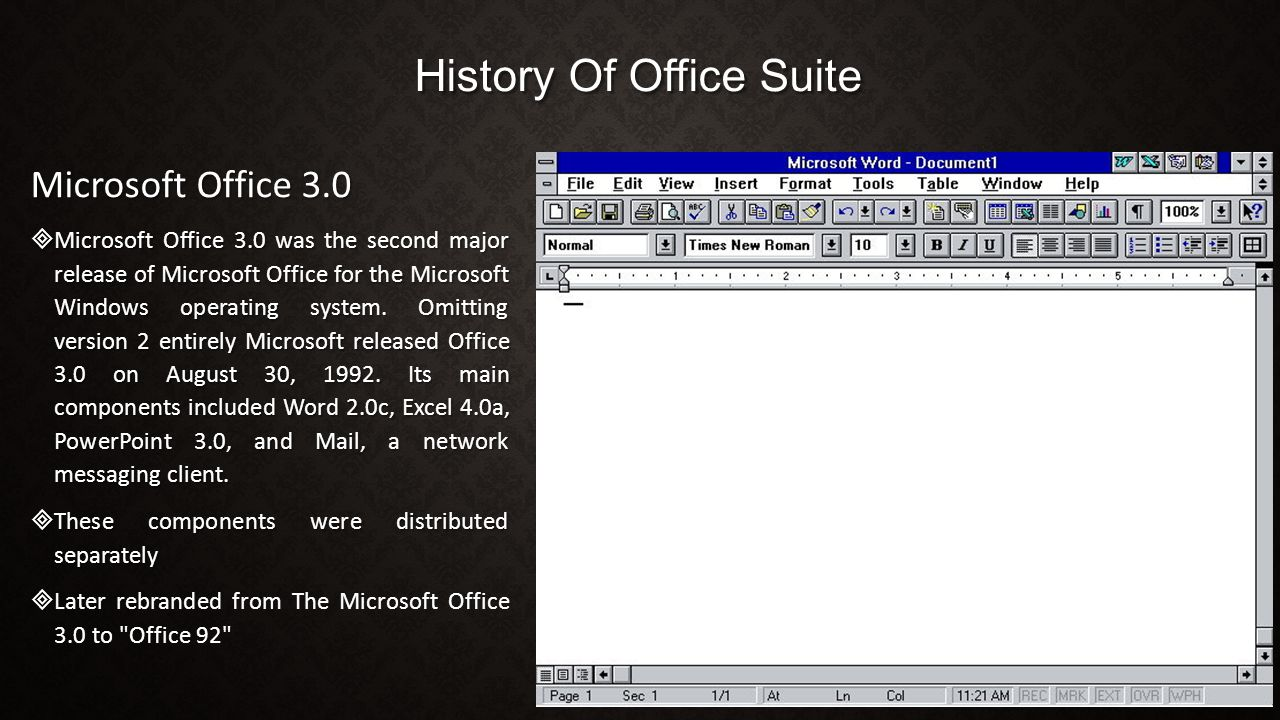 History Of Office Suite Microsoft Office 3.0  Microsoft Office 3.0 was the second major release of Microsoft Office for the Microsoft Windows operating system.