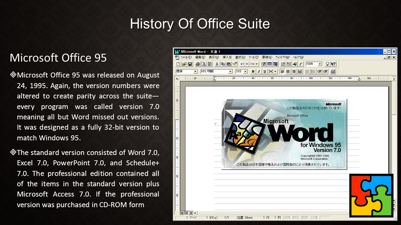 History Of Office Suite Microsoft Office 95  Microsoft Office 95 was released on August 24, 1995. Again, the version numbers were altered to create p