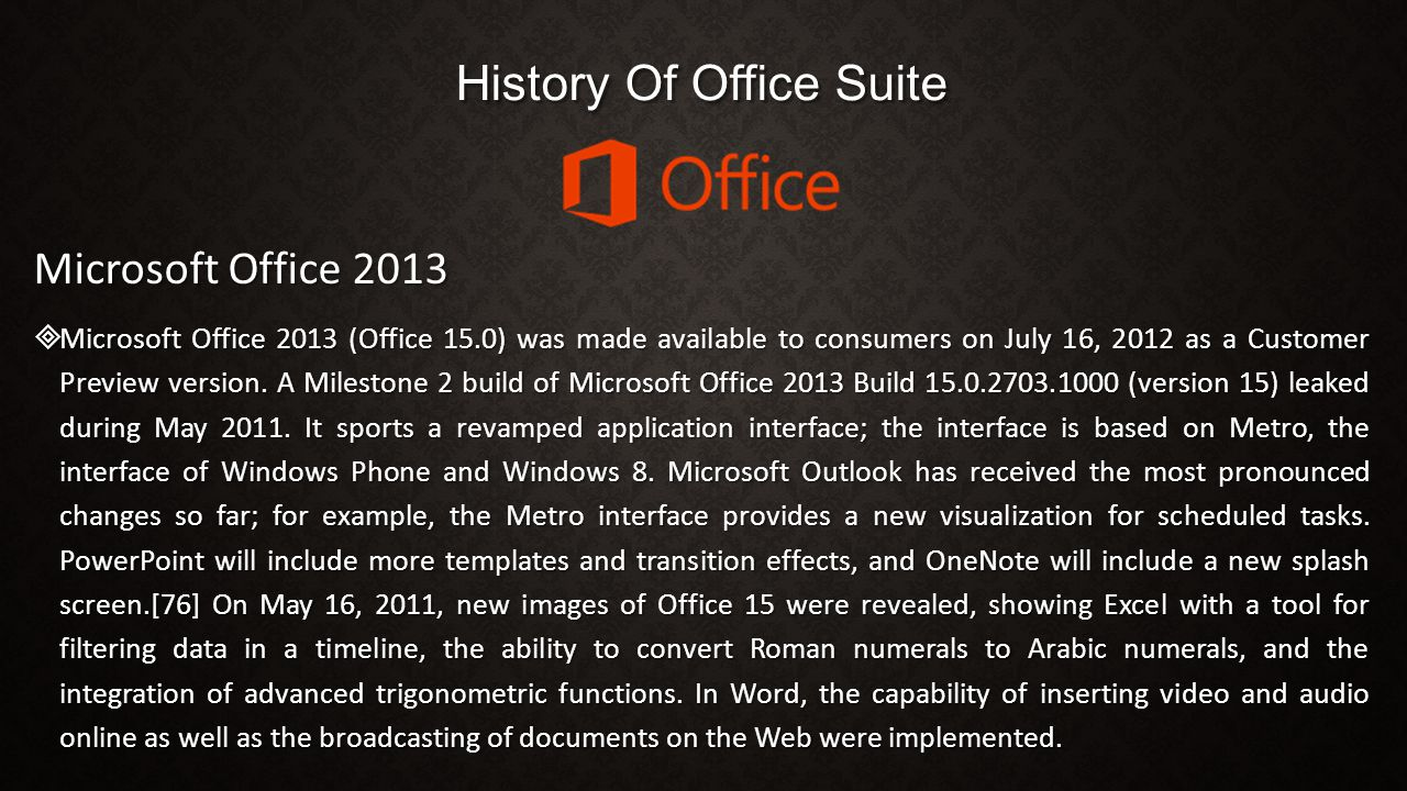 History Of Office Suite Microsoft Office 2013  Microsoft Office 2013 (Office 15.0) was made available to consumers on July 16, 2012 as a Customer Pre