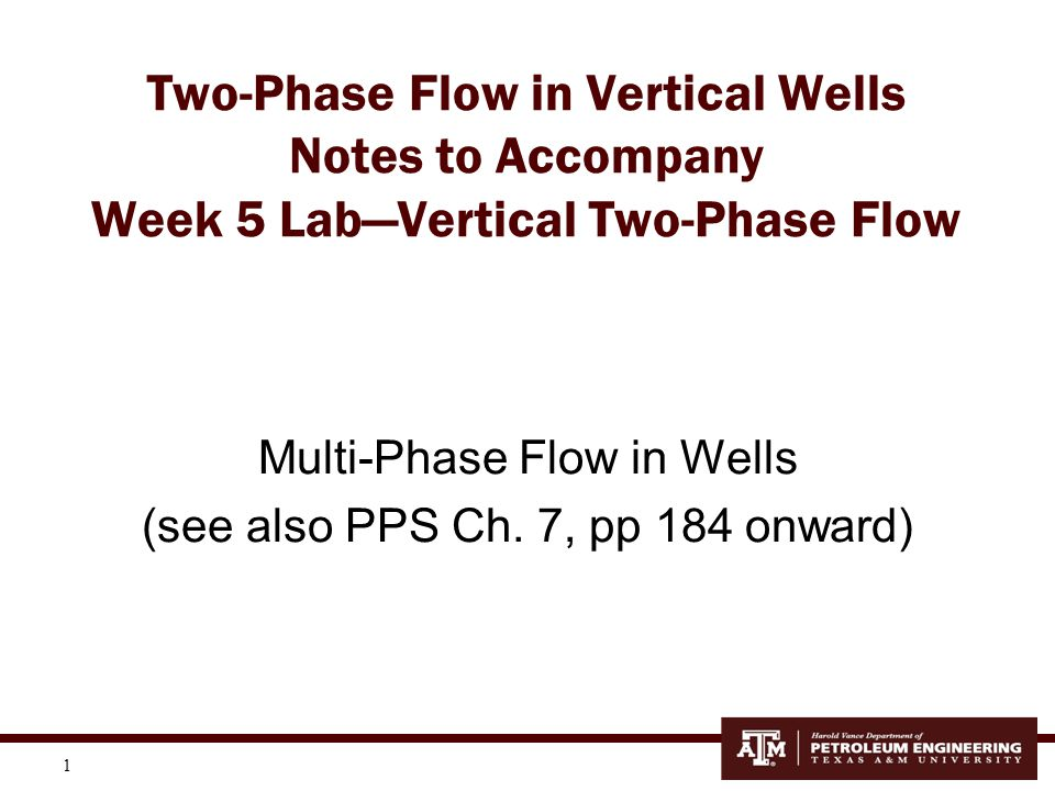1 Two-Phase Flow in Vertical Wells Notes to Accompany Week 5 Lab—Vertical Two-Phase Flow Multi-Phase Flow in Wells (see also PPS Ch. 7, pp 184 onward)