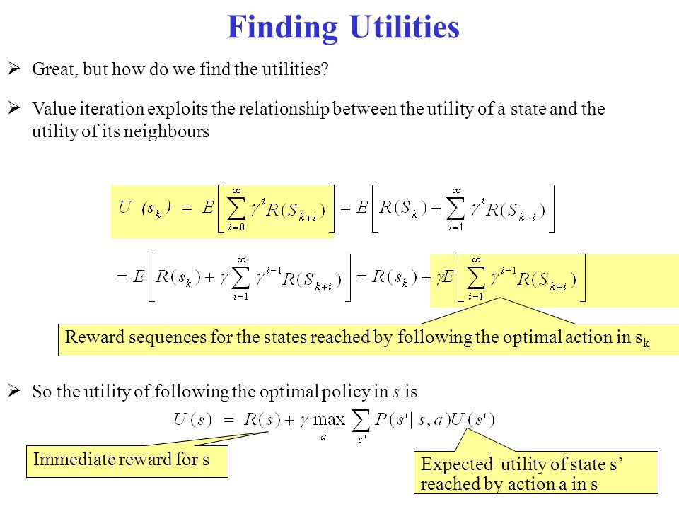 Finding Utilities  Great, but how do we find the utilities?  Value iteration exploits the relationship between the utility of a state and the utilit