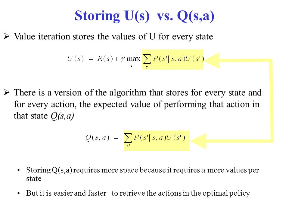 Storing U(s) vs. Q(s,a)  Value iteration stores the values of U for every state  There is a version of the algorithm that stores for every state and