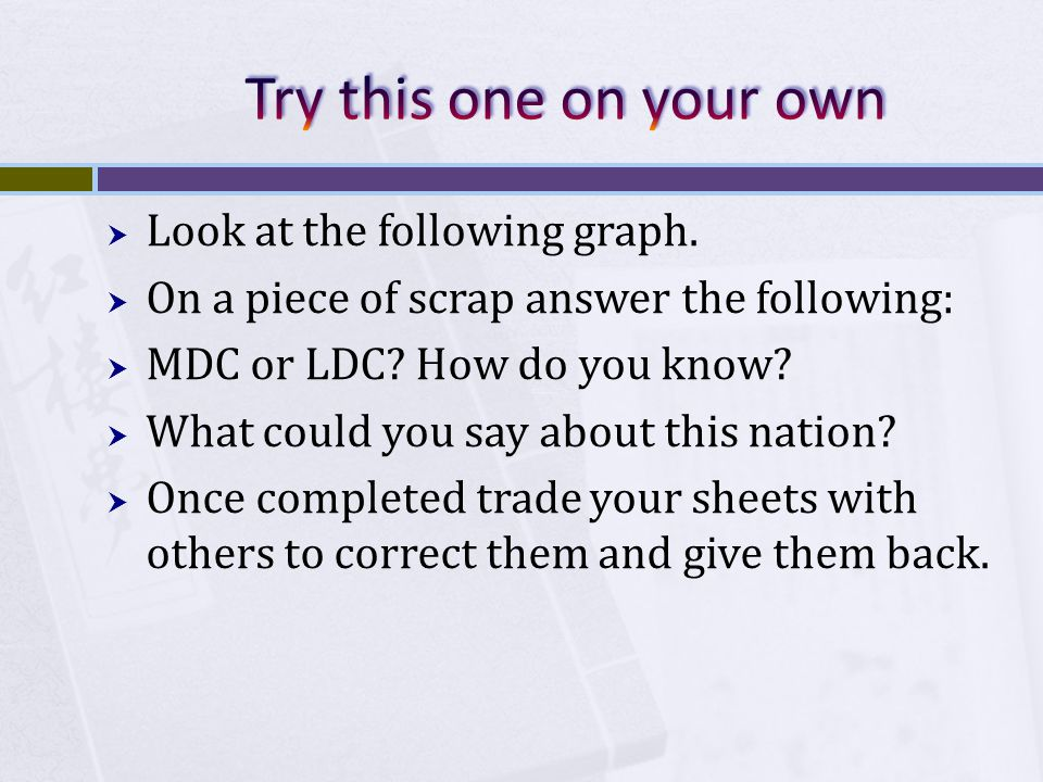  Look at the following graph. On a piece of scrap answer the following:  MDC or LDC.