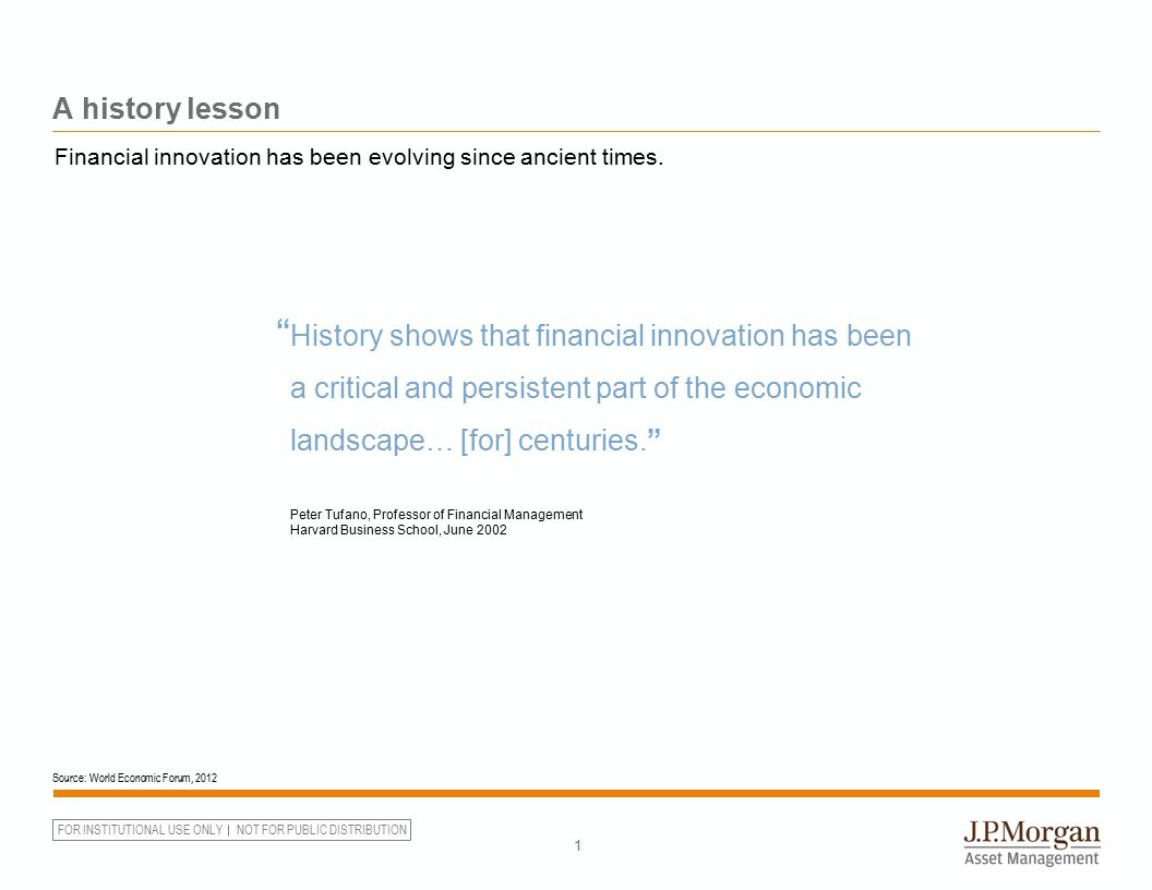 FOR INSTITUTIONAL USE ONLY NOT FOR PUBLIC DISTRIBUTION A history lesson 1 Source: World Economic Forum, 2012 Financial innovation has been evolving si