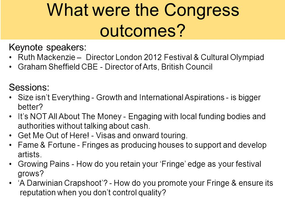 What were the Congress outcomes.