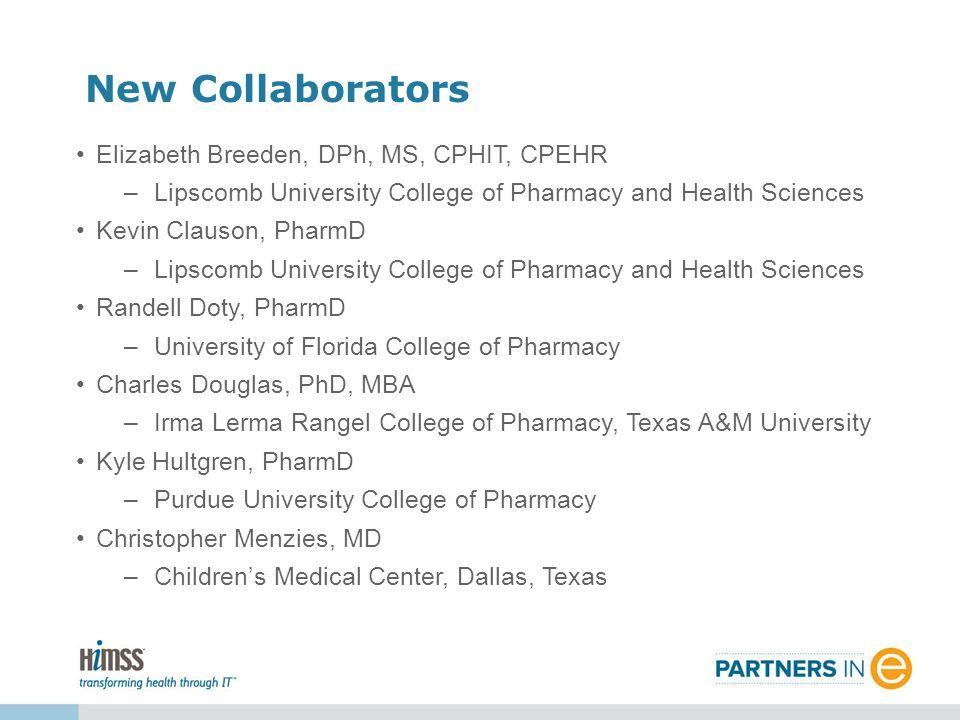 New Collaborators Elizabeth Breeden, DPh, MS, CPHIT, CPEHR –Lipscomb University College of Pharmacy and Health Sciences Kevin Clauson, PharmD –Lipscom