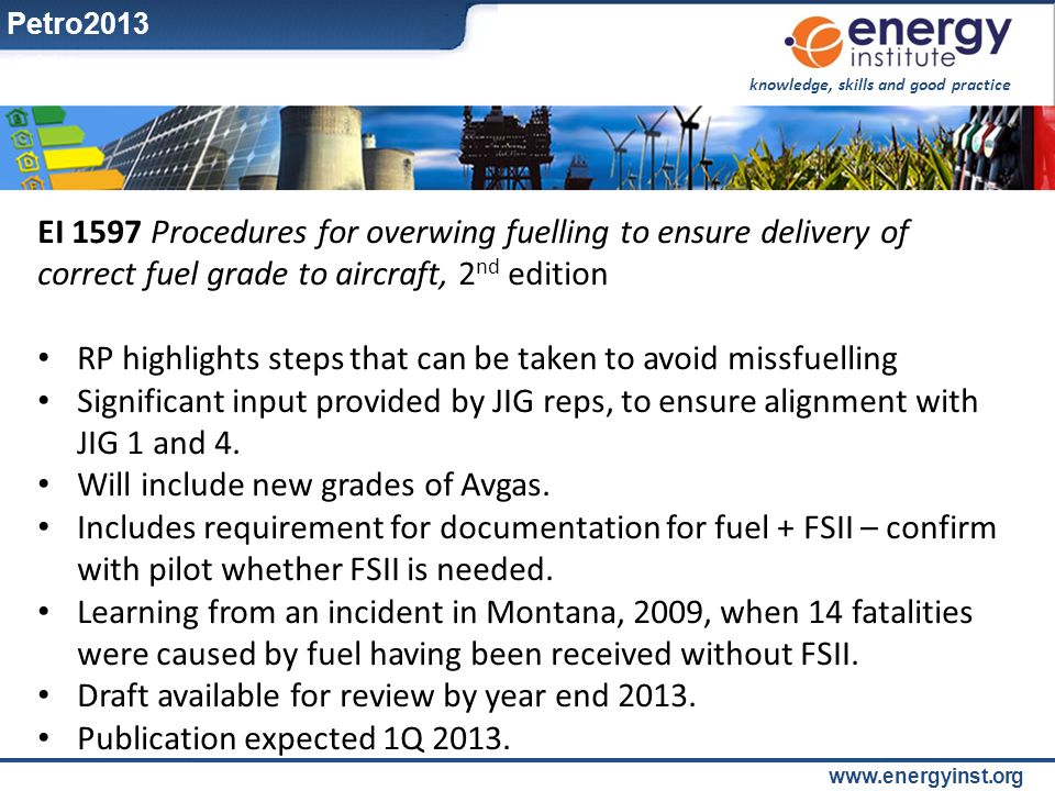 knowledge, skills and good practice www.energyinst.org EI 1597 Procedures for overwing fuelling to ensure delivery of correct fuel grade to aircraft,
