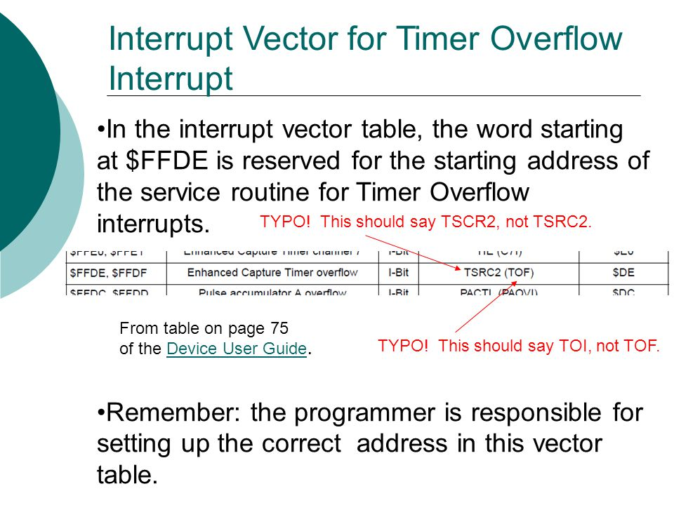 In the interrupt vector table, the word starting at $FFDE is reserved for the starting address of the service routine for Timer Overflow interrupts.