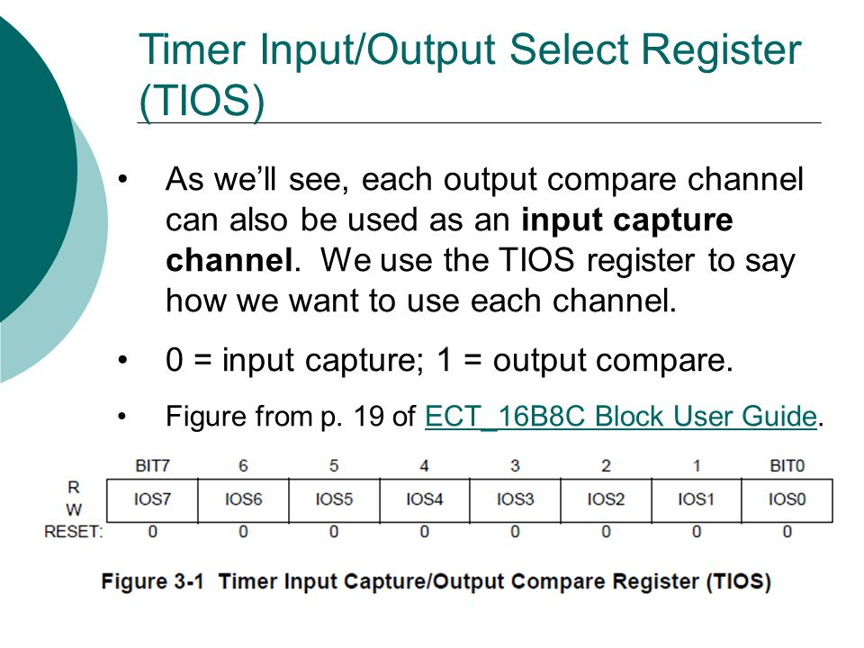 Timer Input/Output Select Register (TIOS) As we'll see, each output compare channel can also be used as an input capture channel.