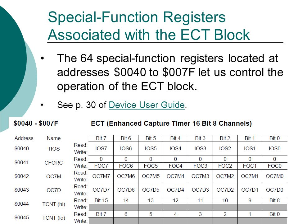 Special-Function Registers Associated with the ECT Block The 64 special-function registers located at addresses $0040 to $007F let us control the operation of the ECT block.