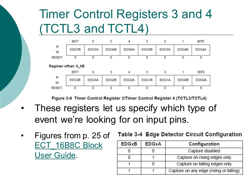 Timer Control Registers 3 and 4 (TCTL3 and TCTL4) These registers let us specify which type of event we're looking for on input pins.