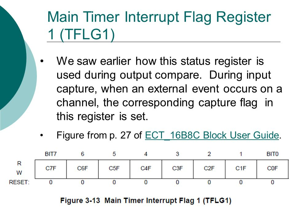 Main Timer Interrupt Flag Register 1 (TFLG1) We saw earlier how this status register is used during output compare.