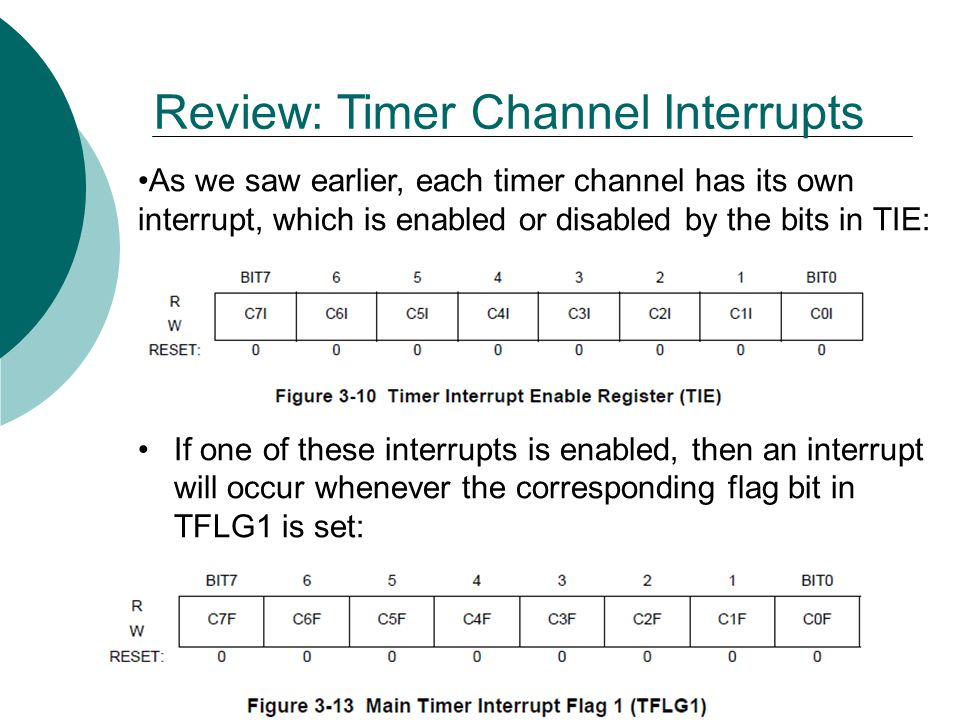 As we saw earlier, each timer channel has its own interrupt, which is enabled or disabled by the bits in TIE: If one of these interrupts is enabled, then an interrupt will occur whenever the corresponding flag bit in TFLG1 is set: Review: Timer Channel Interrupts