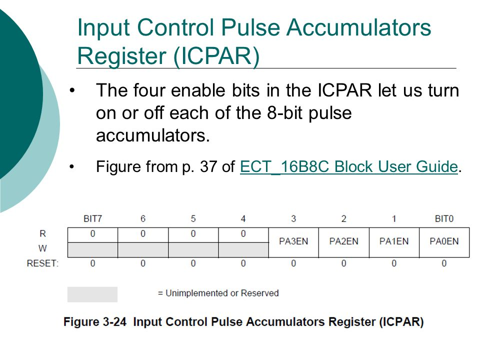 Input Control Pulse Accumulators Register (ICPAR) The four enable bits in the ICPAR let us turn on or off each of the 8-bit pulse accumulators.