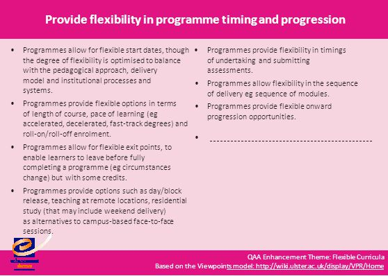 QAA Enhancement Theme: Flexible Curricula Based on the Viewpoints model: http://wiki.ulster.ac.uk/display/VPR/Homets model: http://wiki.ulster.ac.uk/display/VPR/Home Provide flexibility in programme timing and progression Programmes allow for flexible start dates, though the degree of flexibility is optimised to balance Programmes provide flexibility in timings of undertaking and submitting assessments.