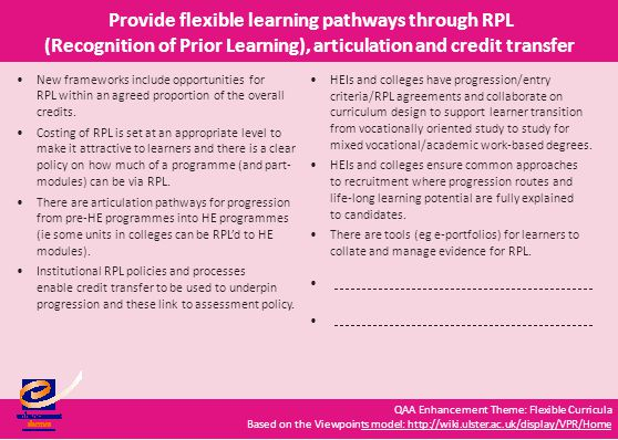 QAA Enhancement Theme: Flexible Curricula Based on the Viewpoints model: http://wiki.ulster.ac.uk/display/VPR/Homets model: http://wiki.ulster.ac.uk/display/VPR/Home Provide flexible learning pathways through RPL (Recognition of Prior Learning), articulation and credit transfer New frameworks include opportunities for RPL within an agreed proportion of the overall credits.