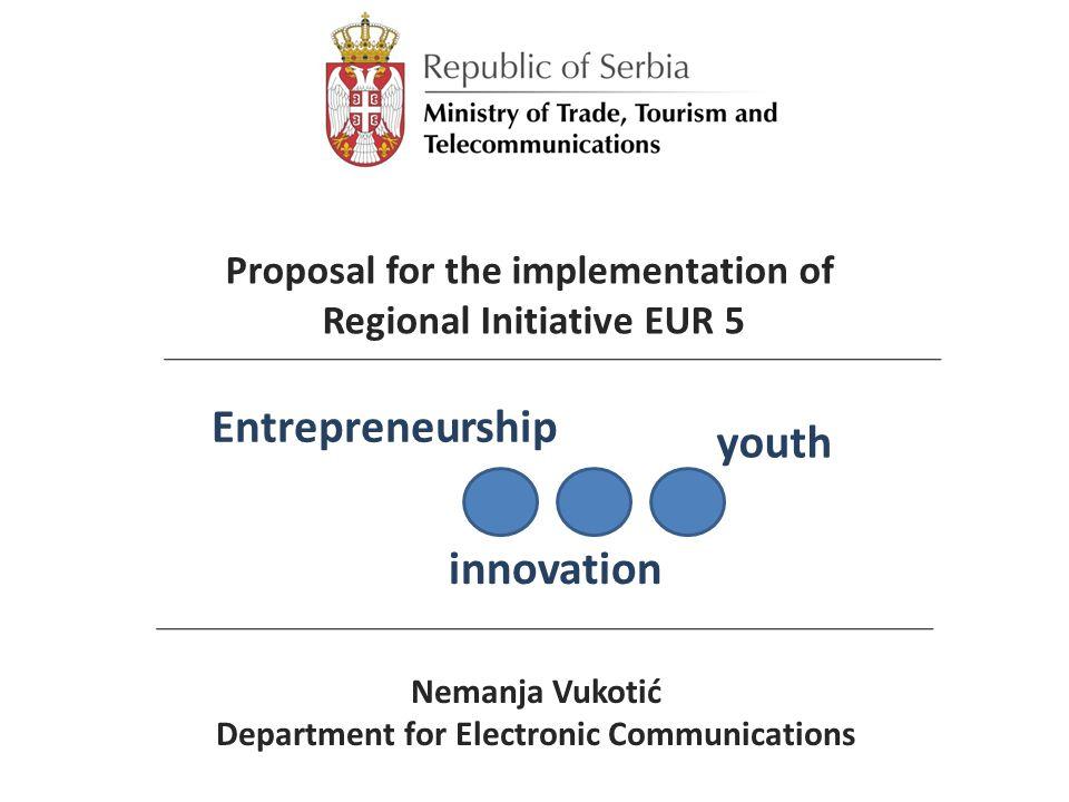 Nemanja Vukotić Department for Electronic Communications Entrepreneurship innovation youth Proposal for the implementation of Regional Initiative EUR