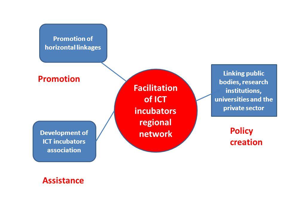Facilitation of ICT incubators regional network Promotion of horizontal linkages Development of ICT incubators association Assistance Linking public b