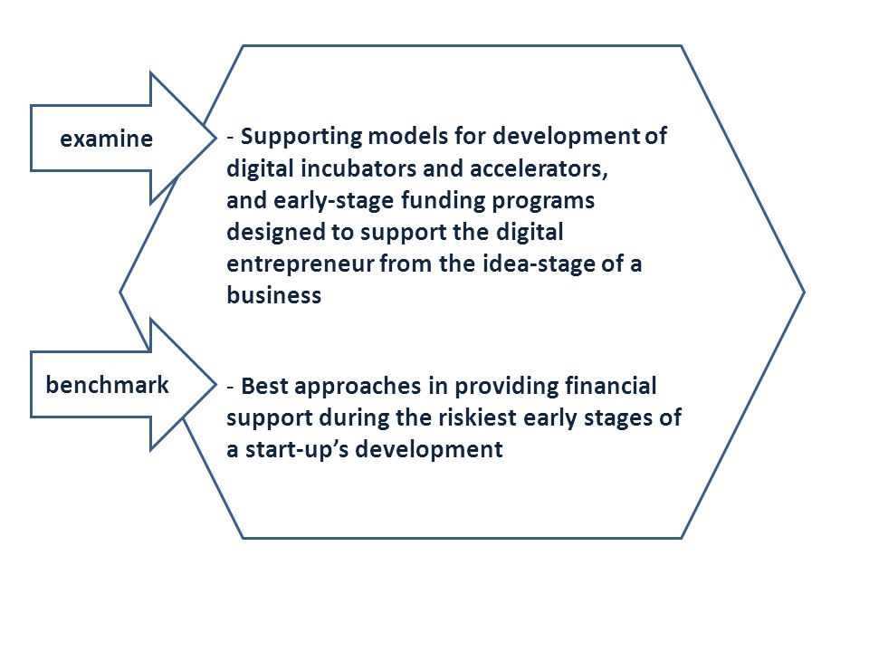 - Supporting models for development of digital incubators and accelerators, and early-stage funding programs designed to support the digital entrepren