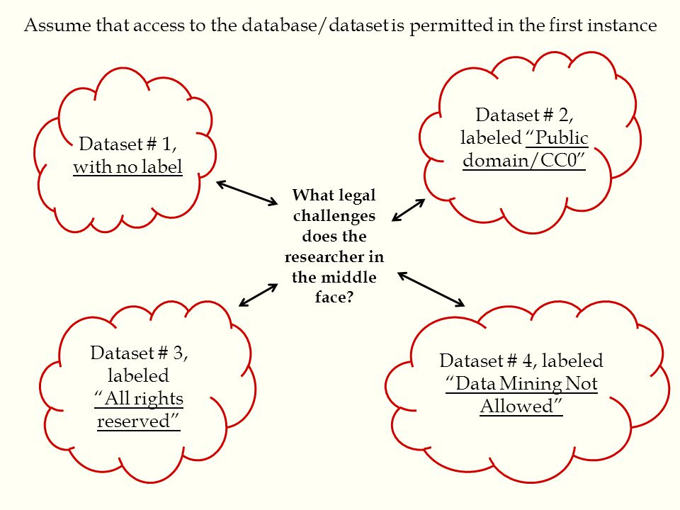 Dataset # 3, labeled All rights reserved Dataset # 1, with no label Dataset # 2, labeled Public domain/CC0 Dataset # 4, labeled Data Mining Not Allowed What legal challenges does the researcher in the middle face.