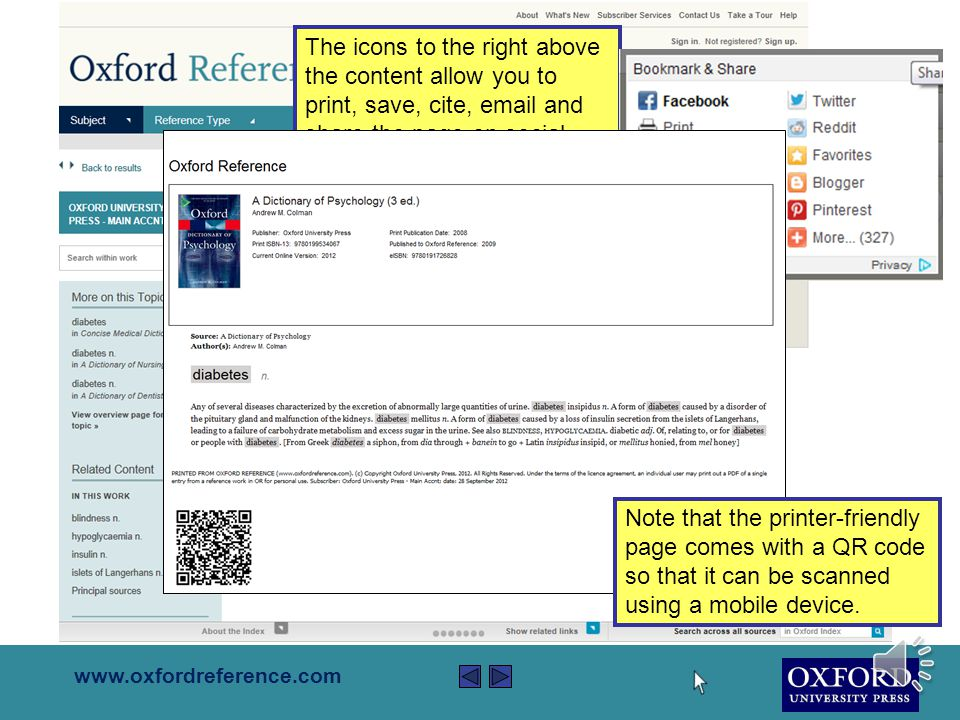 www.oxfordreference.com Content pages will always show links to related content in the same book, and across the site.