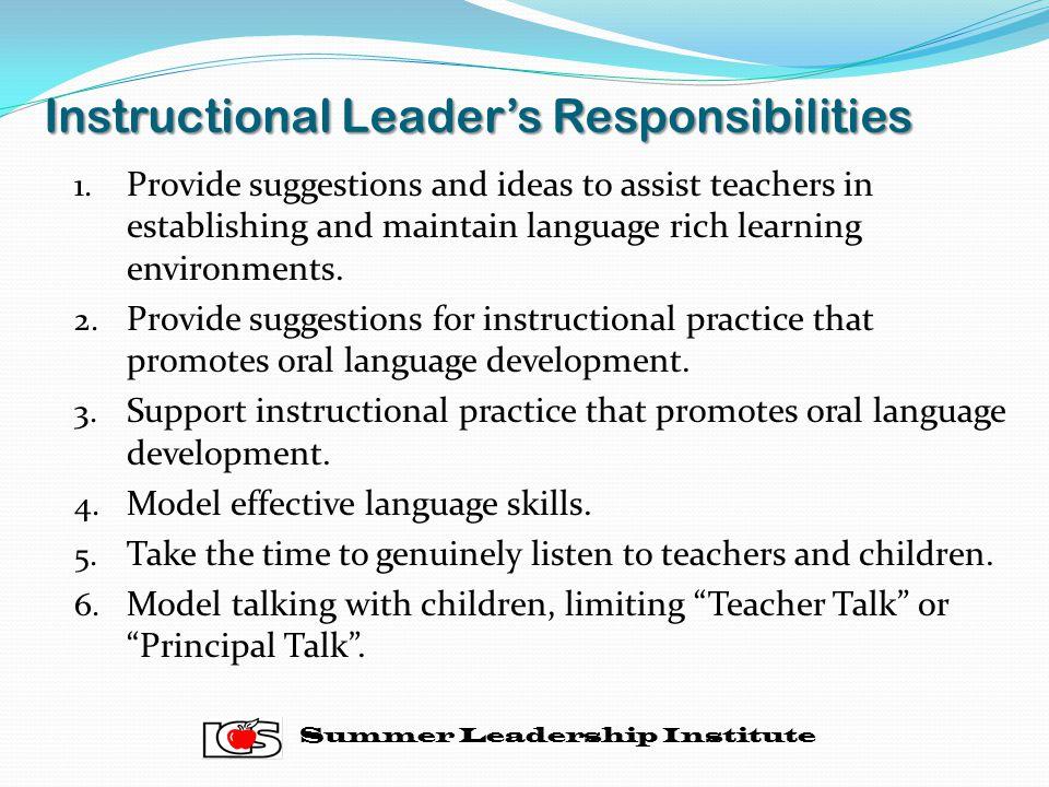 Instructional Leader's Responsibilities 1.