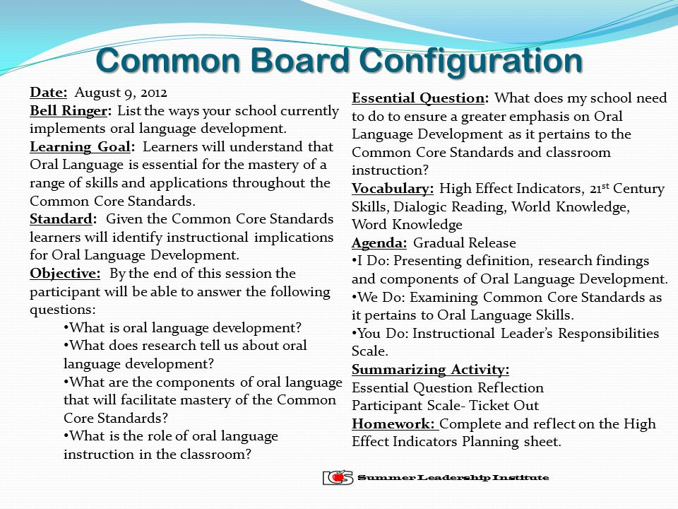 Common Board Configuration Summer Leadership Institute Date: August 9, 2012 Bell Ringer: List the ways your school currently implements oral language development.