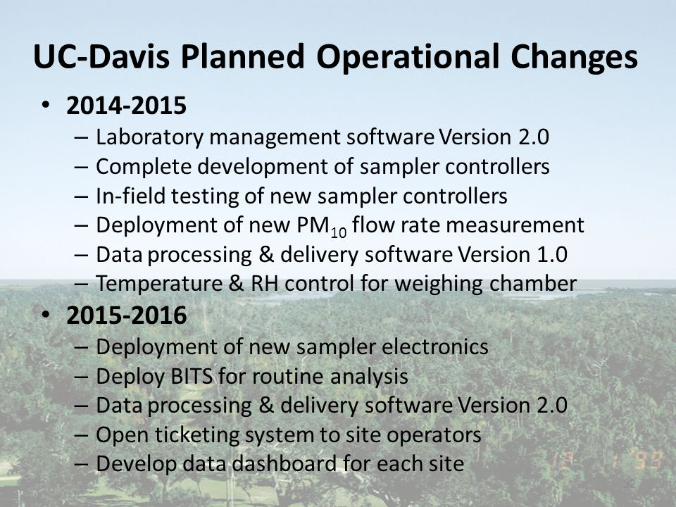 UC-Davis Planned Operational Changes 2014-2015 – Laboratory management software Version 2.0 – Complete development of sampler controllers – In-field testing of new sampler controllers – Deployment of new PM 10 flow rate measurement – Data processing & delivery software Version 1.0 – Temperature & RH control for weighing chamber 2015-2016 – Deployment of new sampler electronics – Deploy BITS for routine analysis – Data processing & delivery software Version 2.0 – Open ticketing system to site operators – Develop data dashboard for each site 32