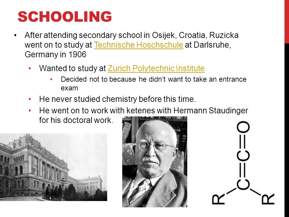 SCHOOLING After attending secondary school in Osijek, Croatia, Ruzicka went on to study at Technische Hoschschule at Darlsruhe, Germany in 1906Technische Hoschschule Wanted to study at Zurich Polytechnic InstituteZurich Polytechnic Institute Decided not to because he didn't want to take an entrance exam He never studied chemistry before this time.