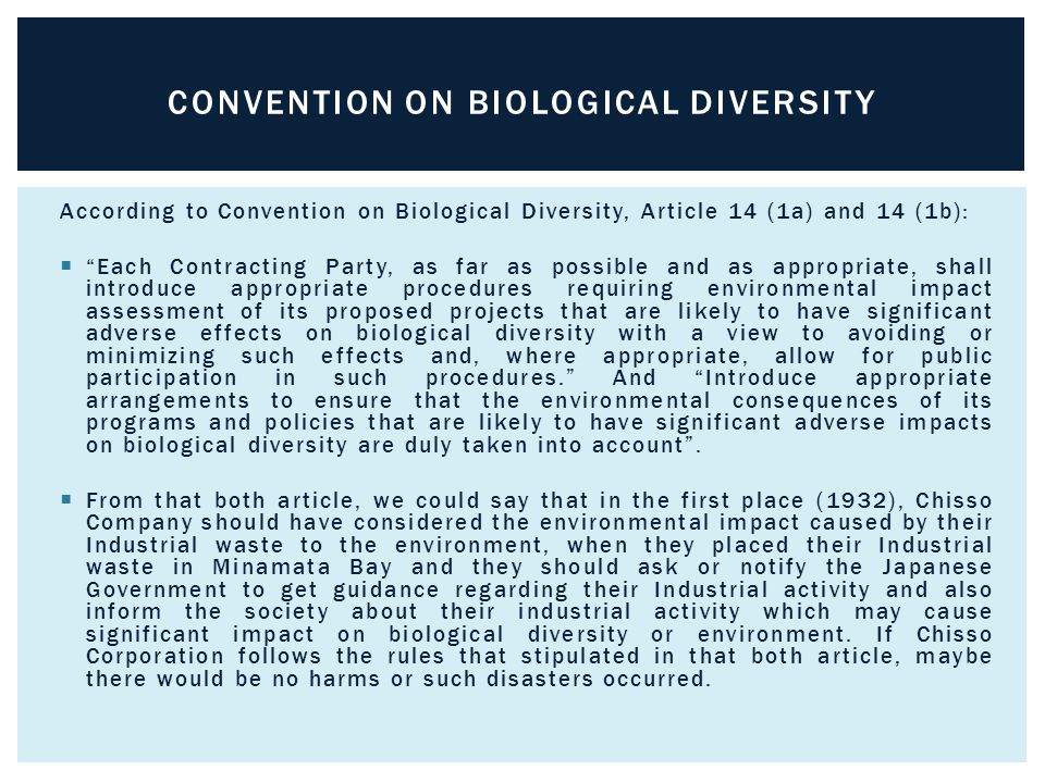 According to Convention on Biological Diversity, Article 14 (1a) and 14 (1b):  Each Contracting Party, as far as possible and as appropriate, shall introduce appropriate procedures requiring environmental impact assessment of its proposed projects that are likely to have significant adverse effects on biological diversity with a view to avoiding or minimizing such effects and, where appropriate, allow for public participation in such procedures. And Introduce appropriate arrangements to ensure that the environmental consequences of its programs and policies that are likely to have significant adverse impacts on biological diversity are duly taken into account .