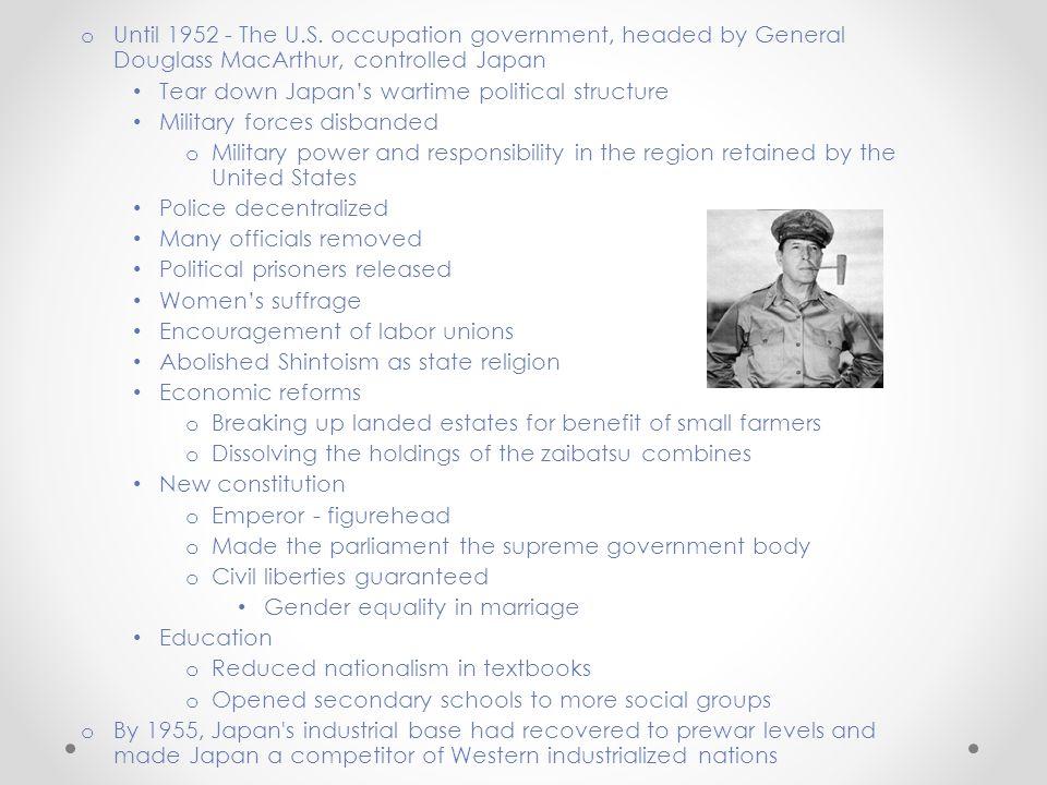 o Until 1952 - The U.S.