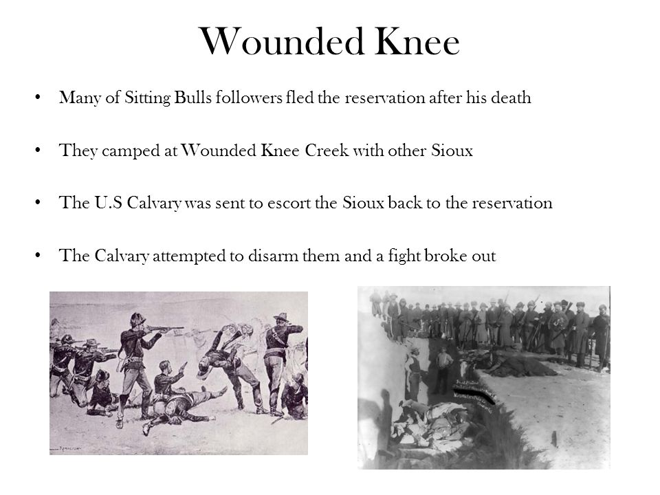 Wounded Knee Many of Sitting Bulls followers fled the reservation after his death They camped at Wounded Knee Creek with other Sioux The U.S Calvary was sent to escort the Sioux back to the reservation The Calvary attempted to disarm them and a fight broke out