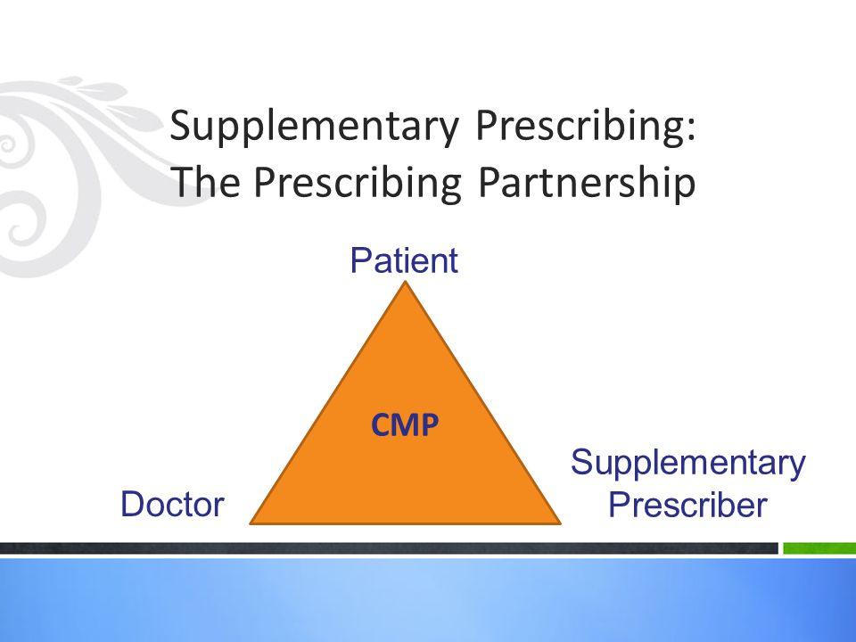 Supplementary Prescribing: The Prescribing Partnership CMP Patient Supplementary Prescriber Doctor