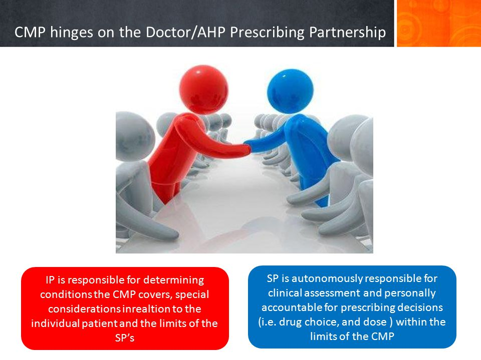 CMP hinges on the Doctor/AHP Prescribing Partnership IP is responsible for determining conditions the CMP covers, special considerations inrealtion to the individual patient and the limits of the SP's SP is autonomously responsible for clinical assessment and personally accountable for prescribing decisions (i.e.