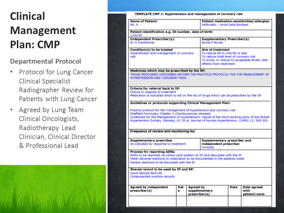Clinical Management Plan: CMP Departmental Protocol Protocol for Lung Cancer Clinical Specialist Radiographer Review for Patients with Lung Cancer Agreed by Lung Team Clinical Oncologists, Radiotherapy Lead Clinician, Clinical Director & Professional Lead