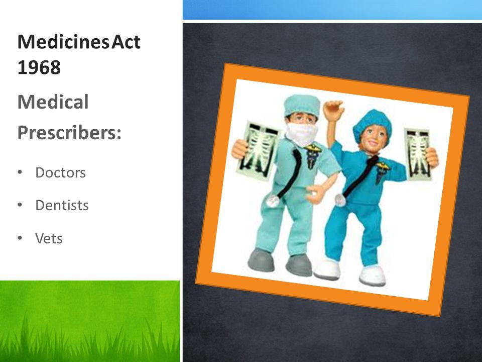 Medicines Act 1968 Medical Prescribers: Doctors Dentists Vets