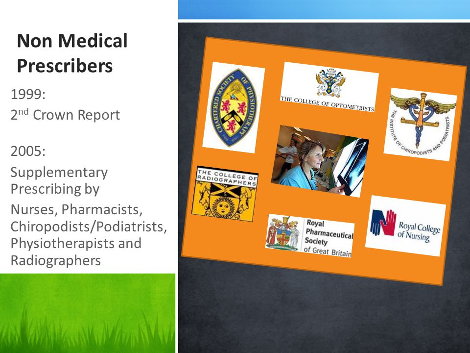 Non Medical Prescribers 1999: 2 nd Crown Report 2005: Supplementary Prescribing by Nurses, Pharmacists, Chiropodists/Podiatrists, Physiotherapists and Radiographers