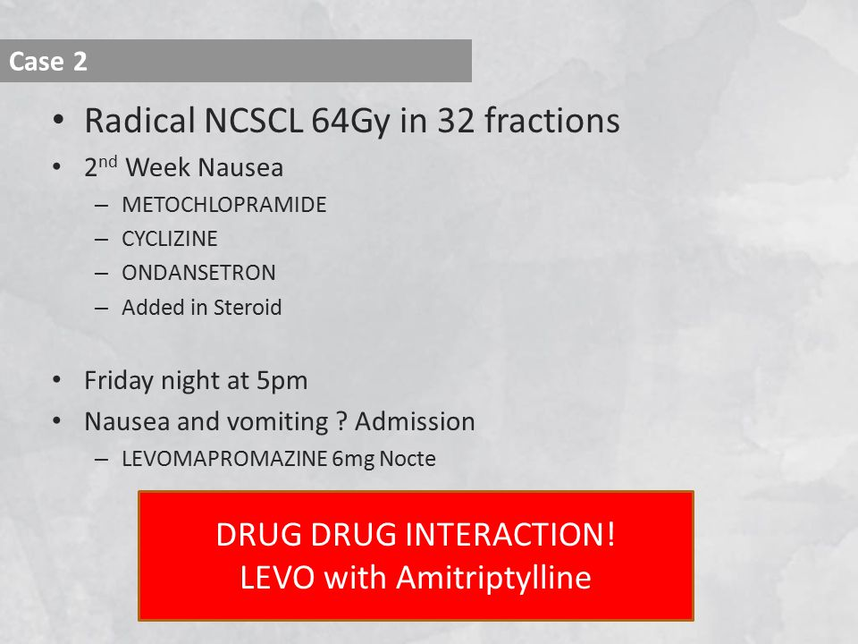 Radical NCSCL 64Gy in 32 fractions 2 nd Week Nausea – METOCHLOPRAMIDE – CYCLIZINE – ONDANSETRON – Added in Steroid Friday night at 5pm Nausea and vomiting .