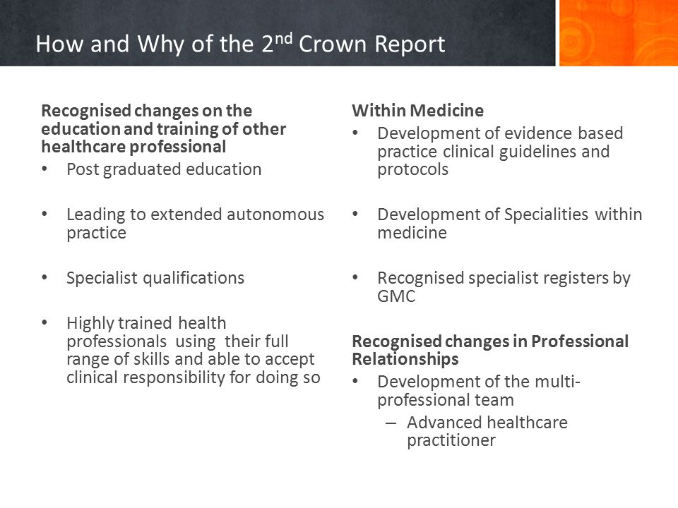 How and Why of the 2 nd Crown Report Recognised changes on the education and training of other healthcare professional Post graduated education Leading to extended autonomous practice Specialist qualifications Highly trained health professionals using their full range of skills and able to accept clinical responsibility for doing so Within Medicine Development of evidence based practice clinical guidelines and protocols Development of Specialities within medicine Recognised specialist registers by GMC Recognised changes in Professional Relationships Development of the multi- professional team – Advanced healthcare practitioner